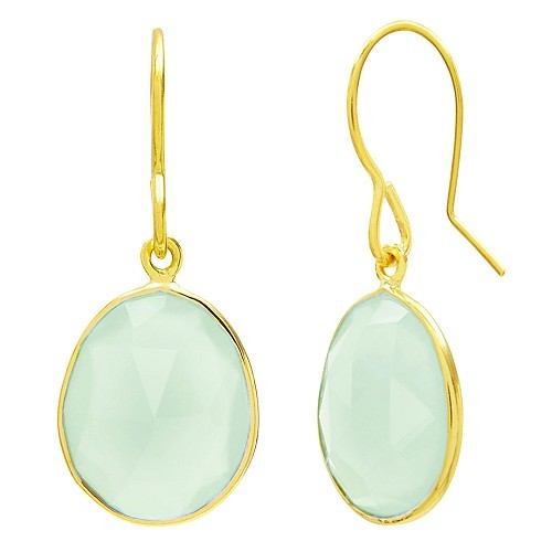 Auren 18ct Gold Vermeil Single Drop Chalcedony Earrings Green